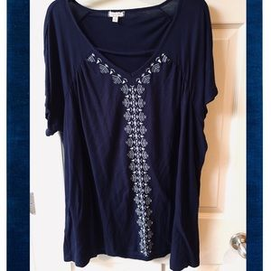 3X Eyeshadow navy blue & white embroidered blouse